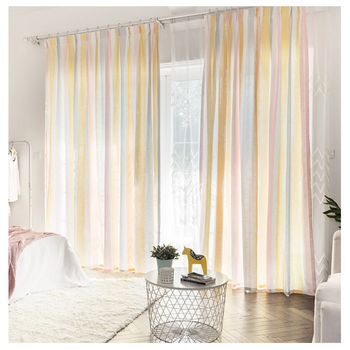 Semisheer Muticolor Striped Curtain Panel