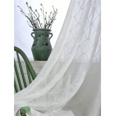 Wavy Lines Embroidered White Sheer Curtains