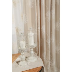 White Flower Embroidered Curtains