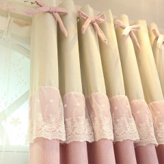 Bowknot and Lace Decorated Girls Bedroom Curtain Set