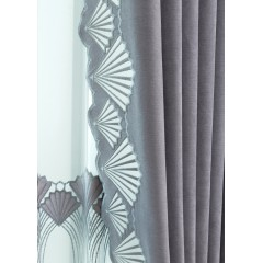 Shell Patterned Gray /Taupe Curtain Set
