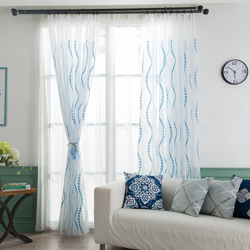 Wave Embroidered Polka Dot Sheer Curtains