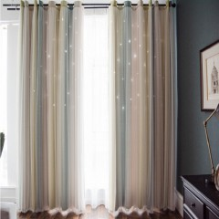 Mix & Match Striped Hollowed Out Star Curtain
