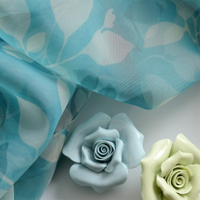 Floral Blue Sheer Curtains