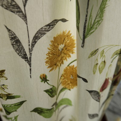 Chrysanthemum Floral Curtain Set