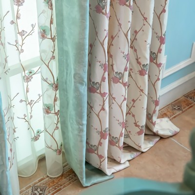 Floral and Color Block Luxury Curtain Set